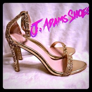 {J.Adams Shoes} ✨Strappy Gold Glitter Heel Sandals